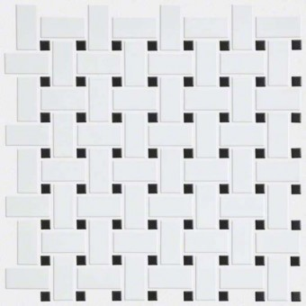 Elegance Basketweave Mosaic - White/Black From Shaw Floor Tiles