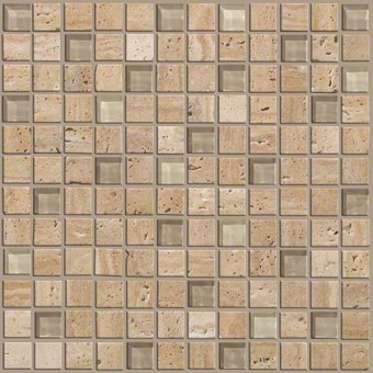 Mixed Up 1x1 Mosaic Travertine - Dune From Shaw Floor Tiles