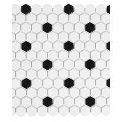 White W/Black Hexagon Matte