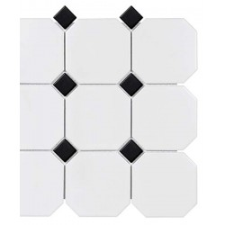 White W/Black Dot Octagon Matte